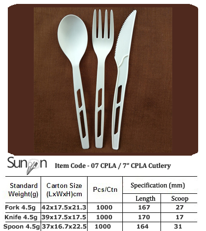 7inch CPLA compostable Cutlery