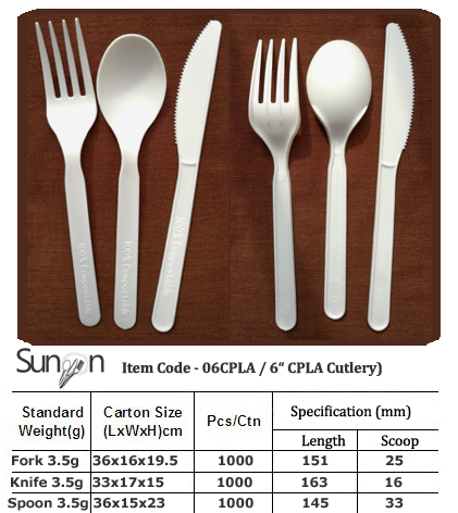 6inch CPLA compostable Cutlery